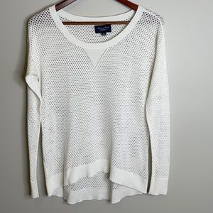 American Eagle white cotton blend mesh knit lightweight long sleeve sweater S